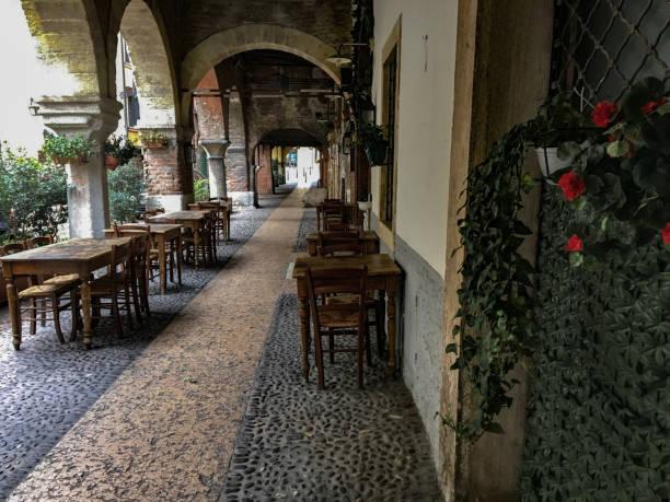 via Sottoriva historic center of Verona, Italy. stock photo