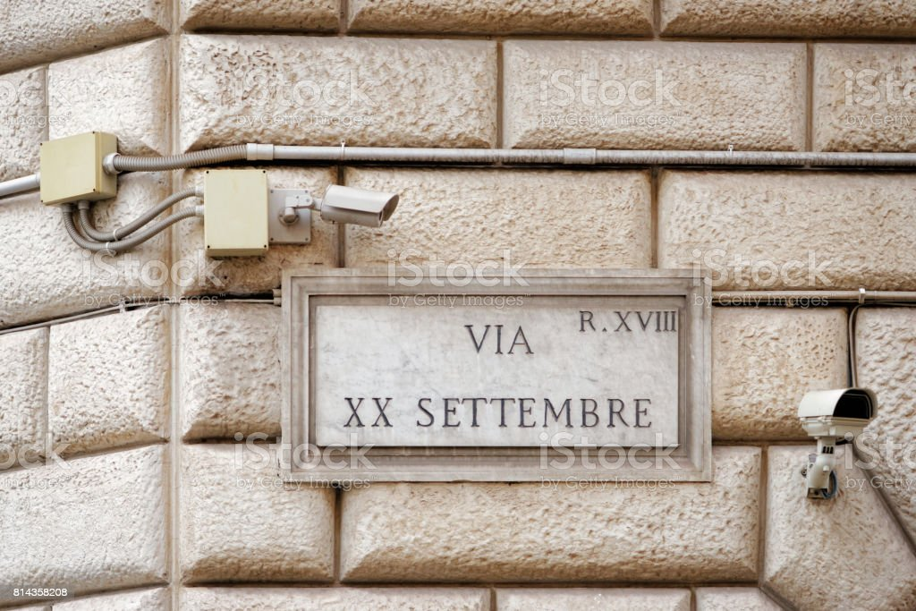 Via XX Settembre street sign on wall in Rome stock photo
