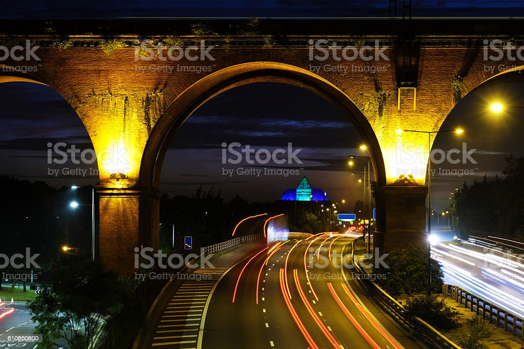 Viaduct and Motorway Traffic Near Manchester stock photo