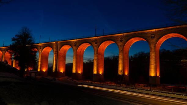 Viaduct at night stock photo