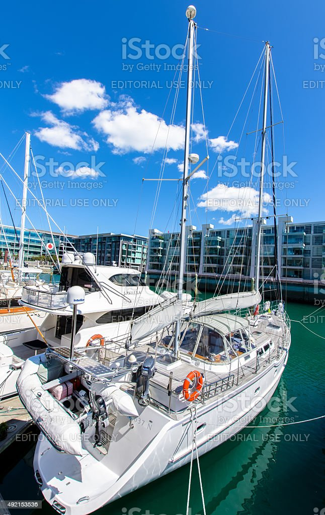 Viaduct Harbour in Auckland,New Zealand stock photo