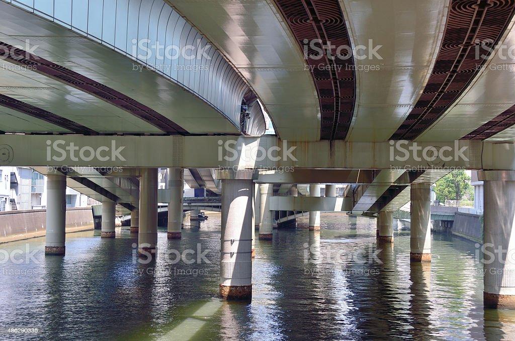 Viaduct of the Metropolitan Expressway across along the Nihonbashi River. stock photo