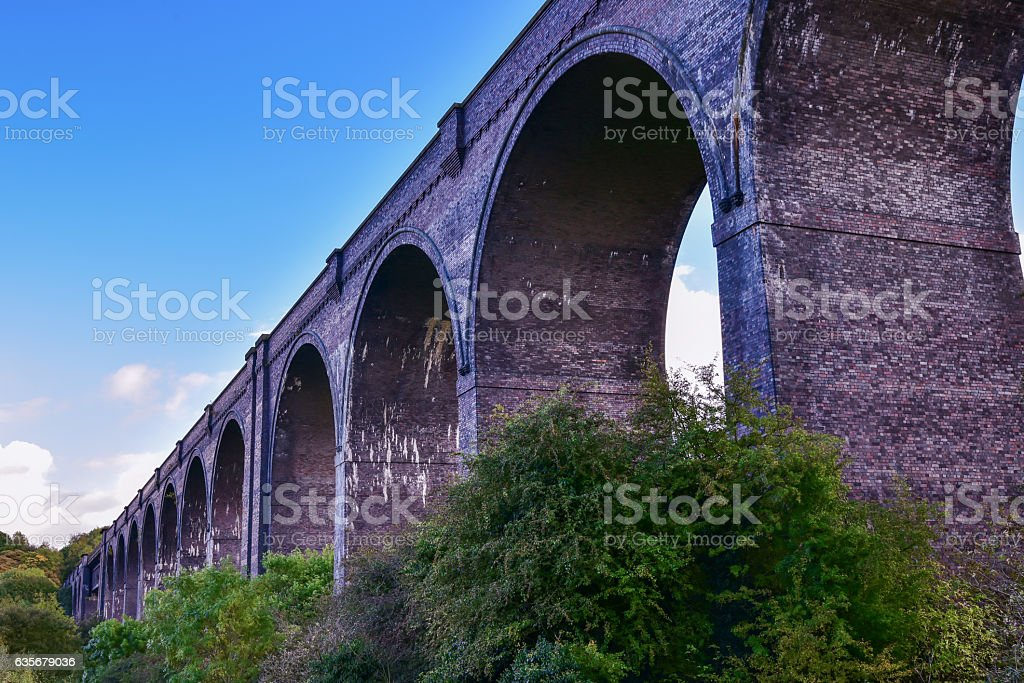 Viaduct on river Don near Conisbrough stock photo