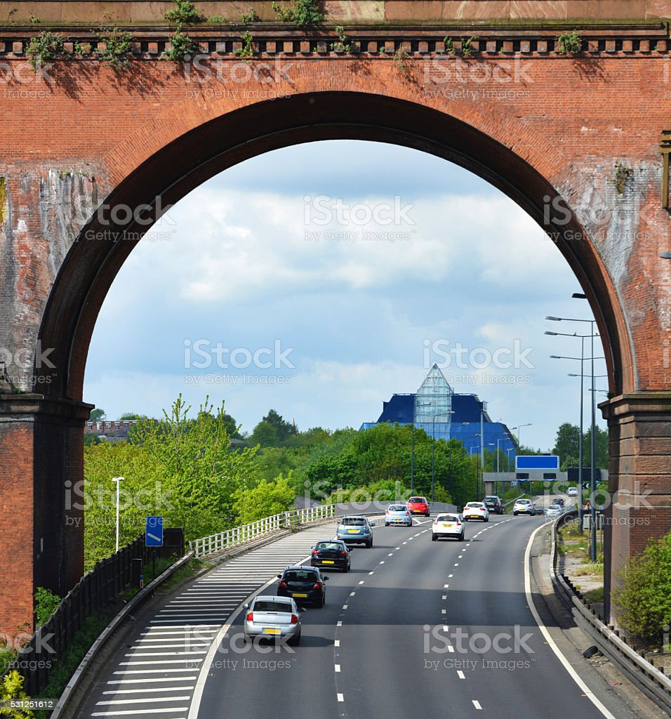 Viaduct over Manchester Motorway stock photo