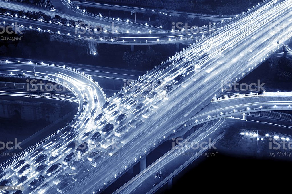 Viaduct traffic jam royalty-free stock photo