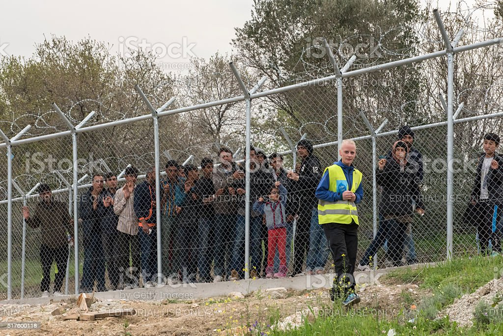 Vial refugee camp or hotspot migrants detention center on Chios stock photo