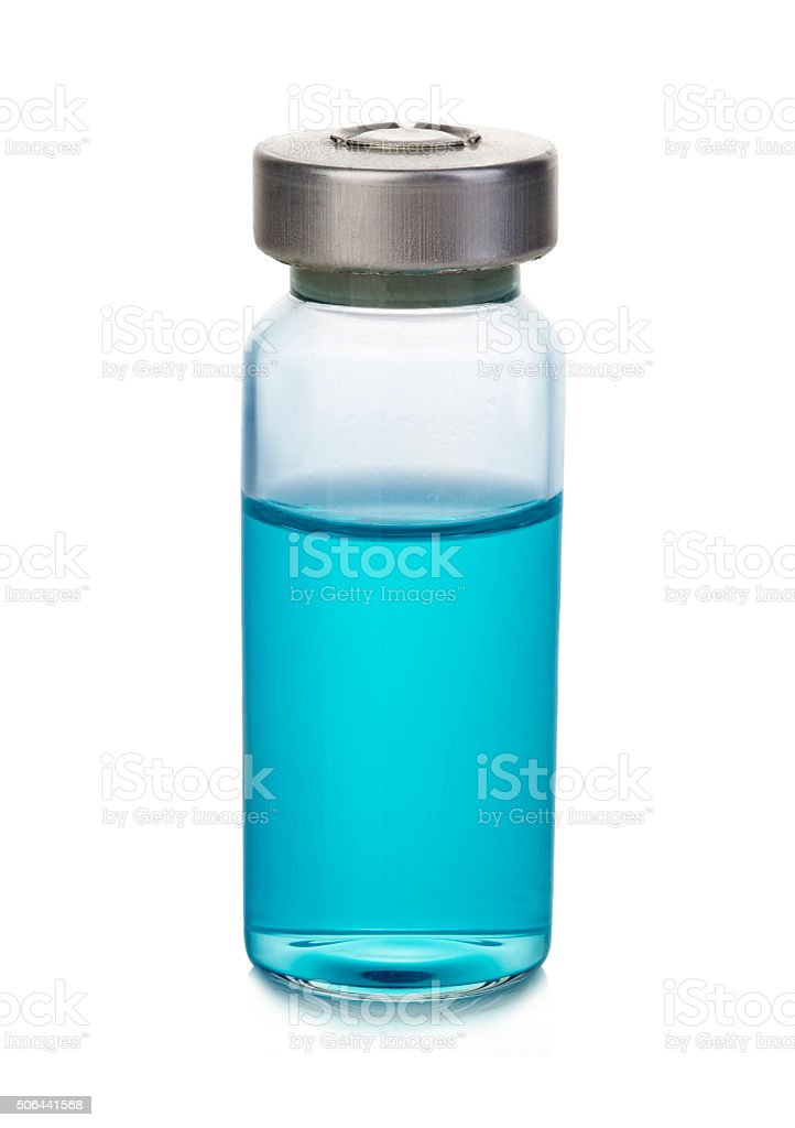 Vial with blue solution isolated on a white background. stock photo