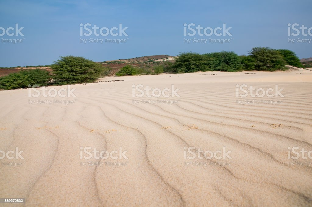 Viana Desert north west region of Boa Vista, Cape verde. The sand has been blown in from the Sahara Desert - foto stock