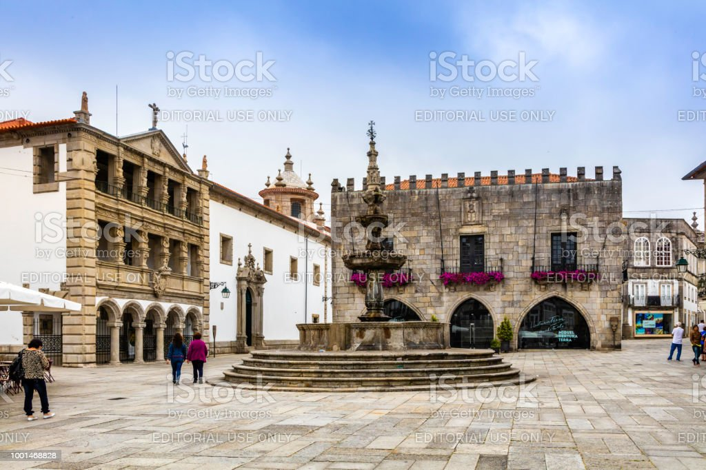 Viana do Castelo city in Northern Portugal and town hall stock photo