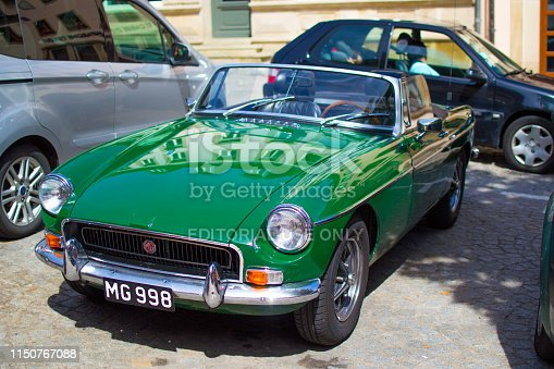 Vianden, Luxembourg; 08/12/2018: green MG MGB, an vintage old classic sport car.