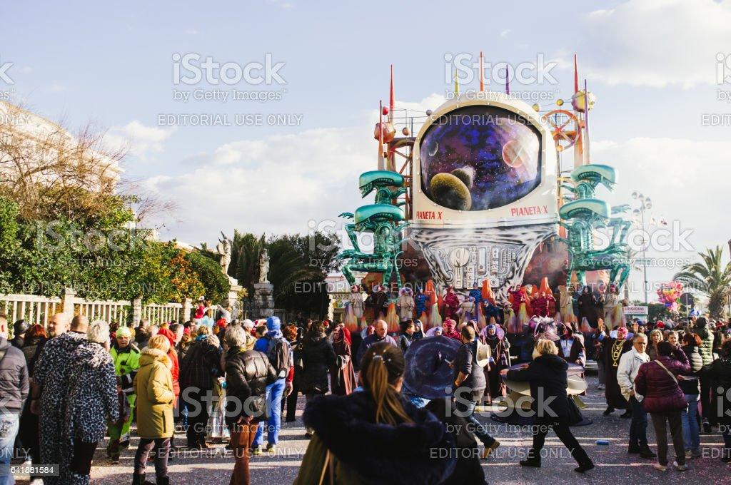 Viareggio, first parade of carnival,Italy stock photo