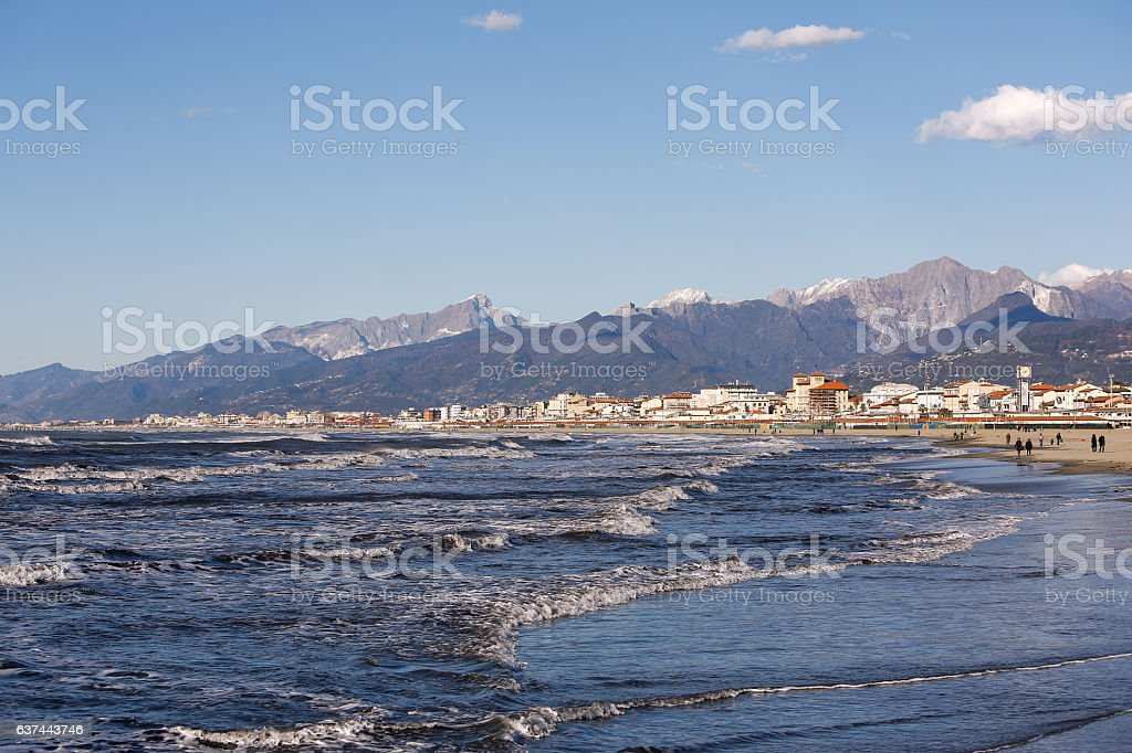 Viareggio Strand Meer stock photo
