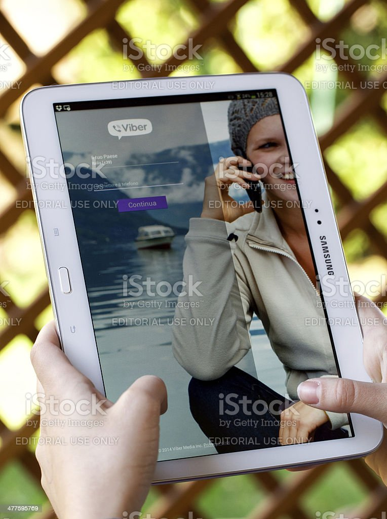 Viber for Samsung Galaxy Tab 3 stock photo