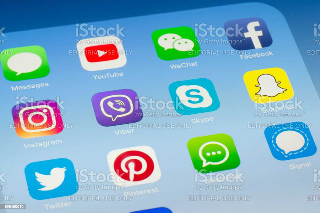 Viber Skype And Other Social Media Apps On Ipad Screen Stock