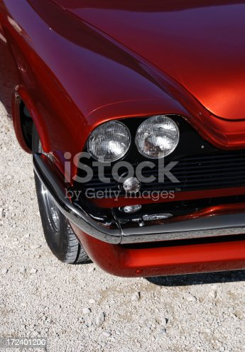detail of a vibrant american muscle car.