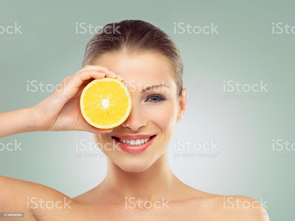 Vibrant beauty with the help of fruit stock photo
