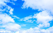 Vibrant Blue sky with clouds background with tiny clouds floating in the Sky in daylight. Natural sky composition. Tranquil Scene Tranquility Concept. Seasonal Design element. Copy space room for text
