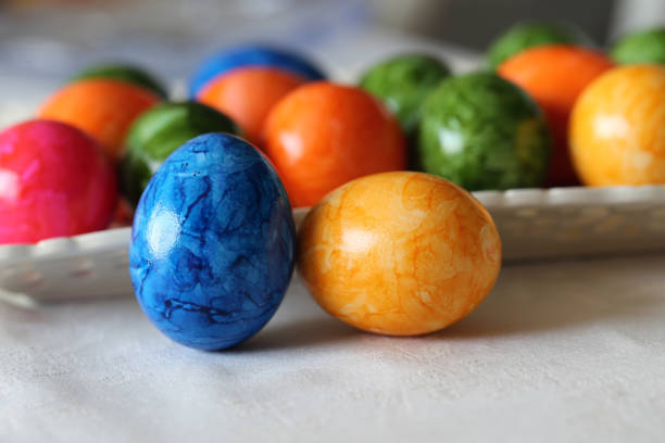 Vibrant, Bright, Colorful Marbled Easter Eggs - Lovely Home Decor for the Easter stock photo