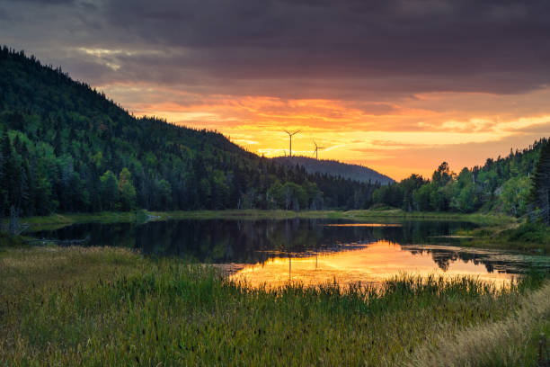 Vibrant canadian lakeside sunset (Gaspesie, Quebec)