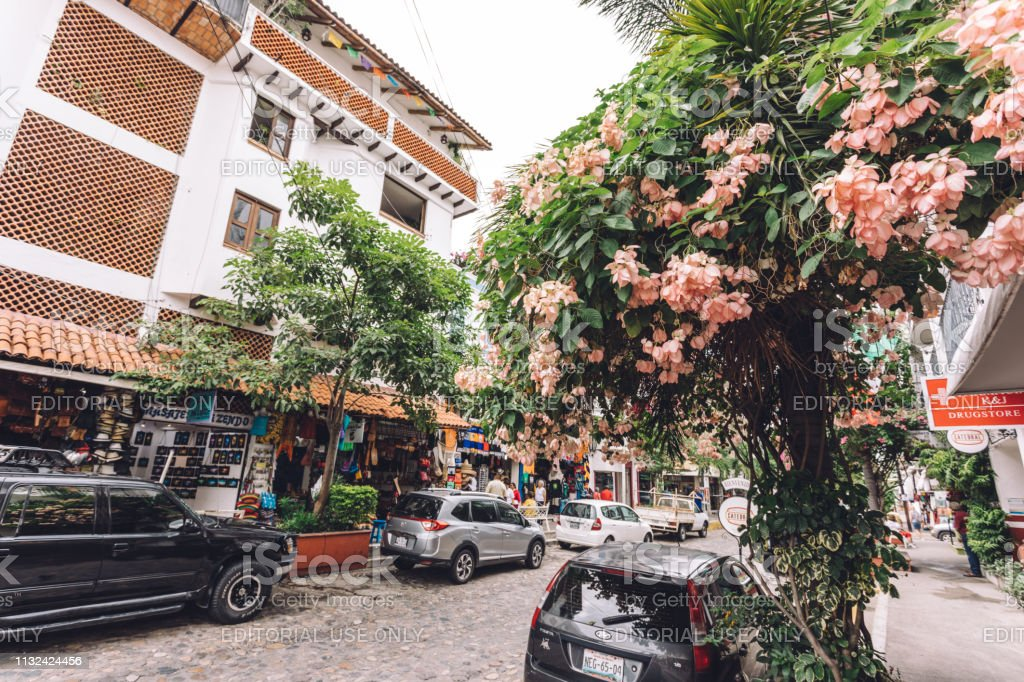 vibrant city block in Puerto Vallarta stock photo