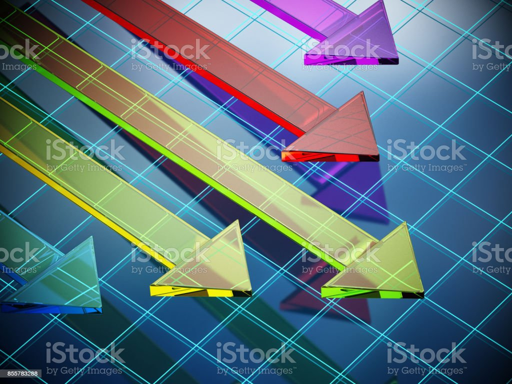 Vibrant clored glass arrows on blue reflective background divided by blue lines stock photo