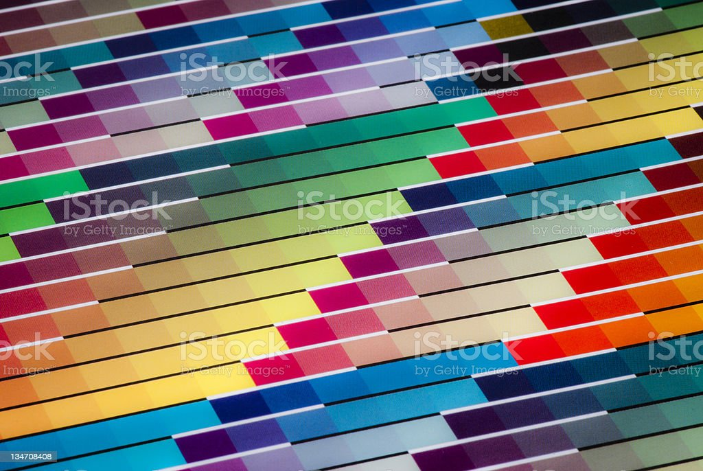 Vibrant Cmyk Color Swatch Chart For Printing Purposes Stock Photo