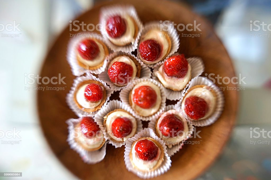Vibrant Color Strawberry Tart Selected Focus stock photo