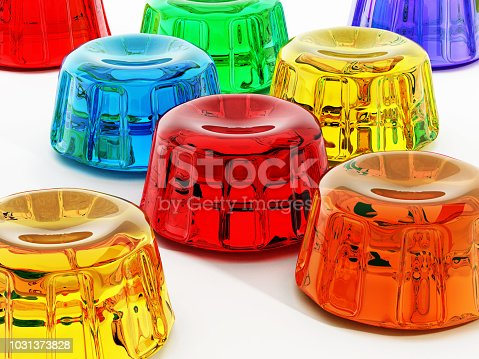 Vibrant colored jellies isolated on white.