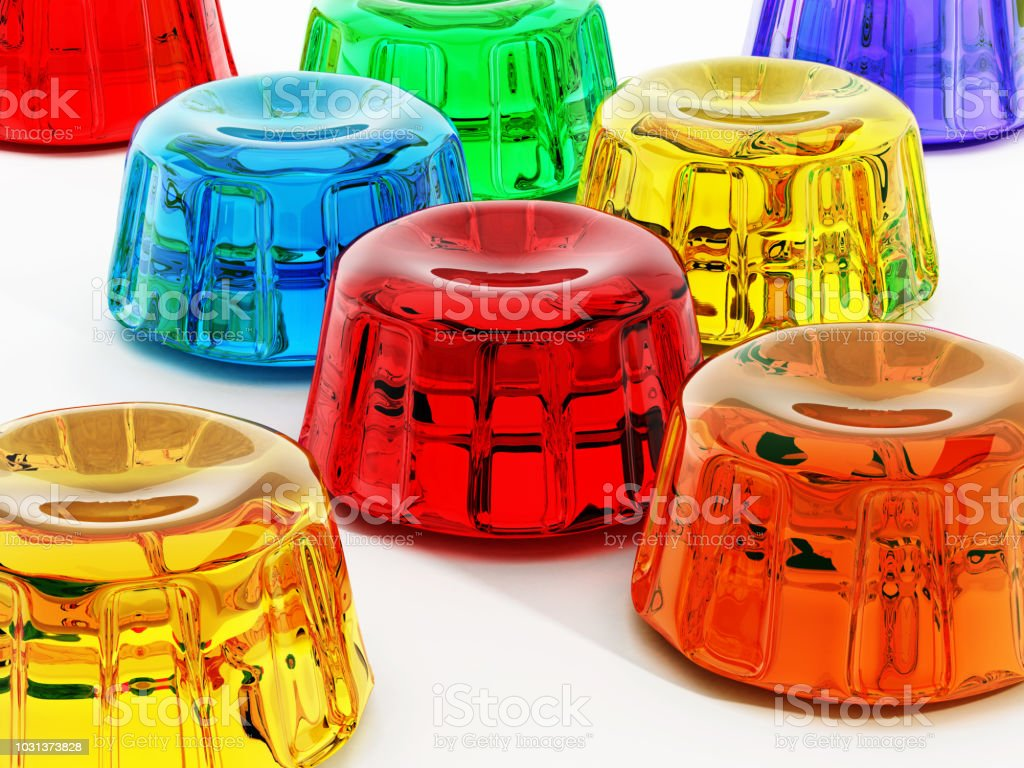 Vibrant colored jellies isolated on white stock photo