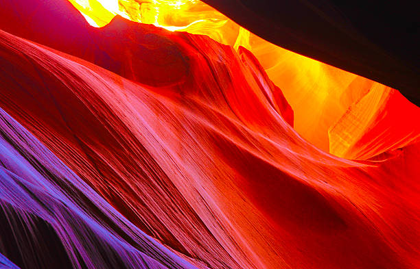 Vibrant colors in slot canyons Natural light creates Vibrant colors in slot canyons of Arizona rock formations stock pictures, royalty-free photos & images