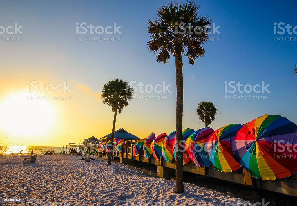 Vibrant colors of Clearwater beach, Florida stock photo