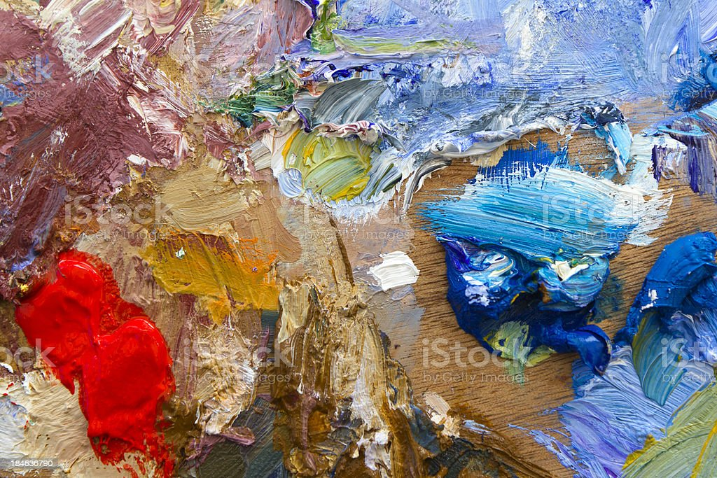 Vibrant colourful artists acrylic paint palette close-up abstract royalty-free stock photo