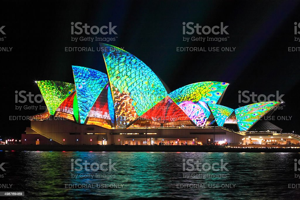 Vibrant colours on the Sydney Opera House stock photo