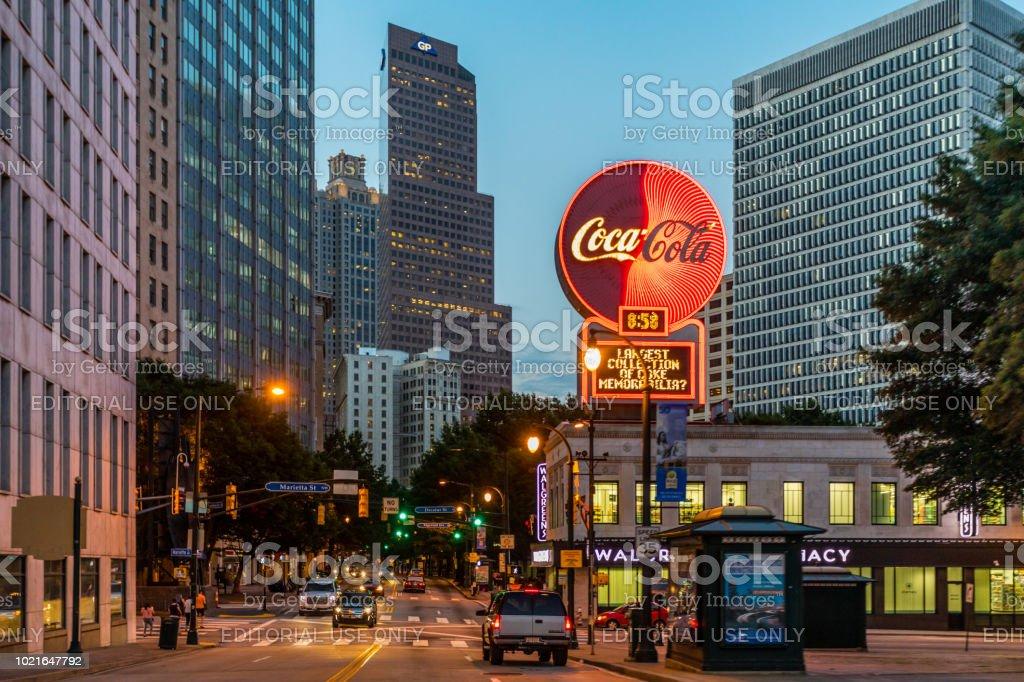 vibrant downtown Atlanta stock photo