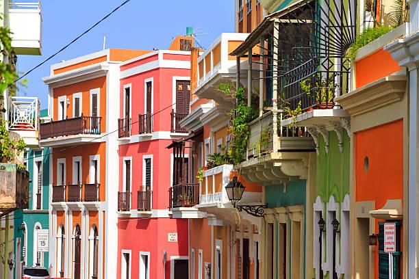 Vibrant houses San Juan stock photo