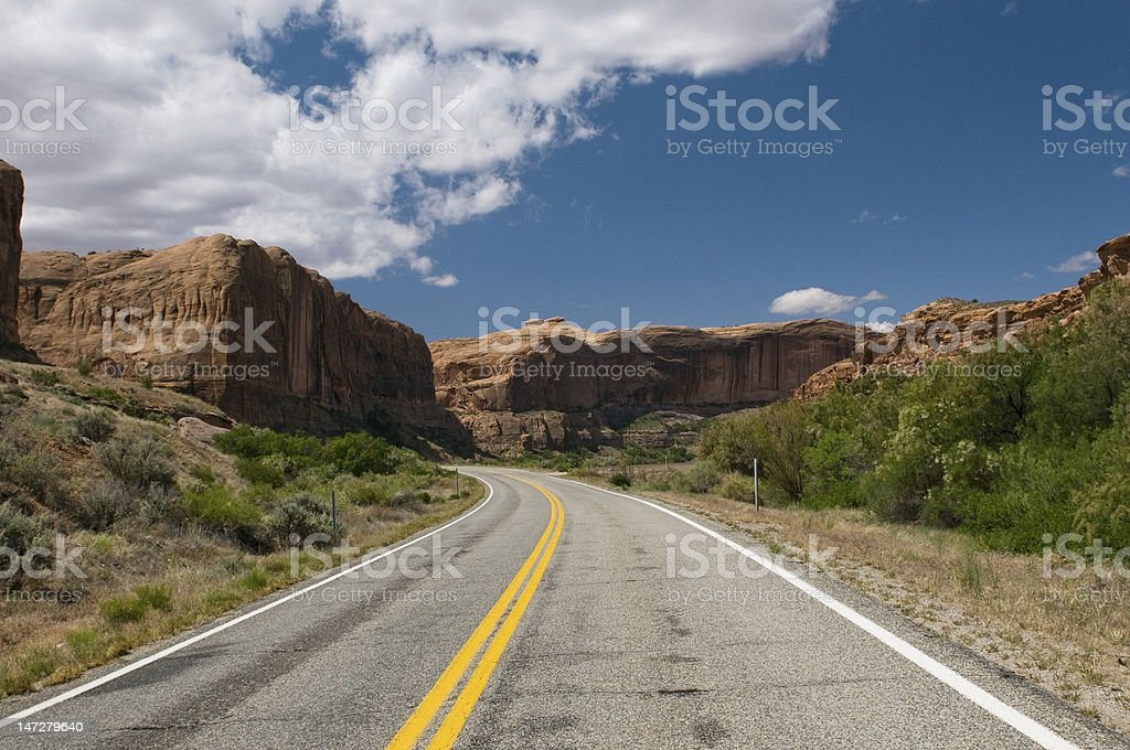 vibrant image of highway and blue sky royalty-free stock photo
