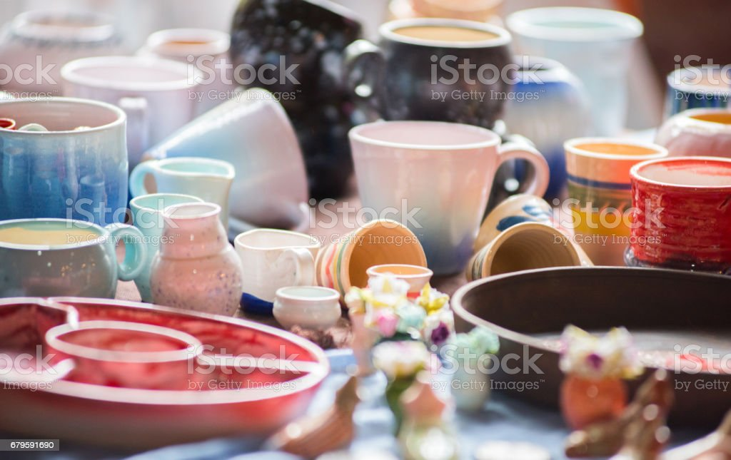 a vibrant image of the blurred multi colored ceramic mugs amazing antique decor