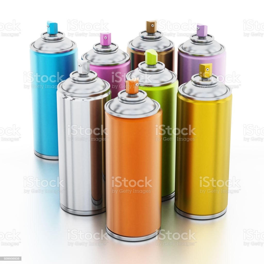 Vibrant Metallic Color Spray Paint Cans Isolated On White Stock