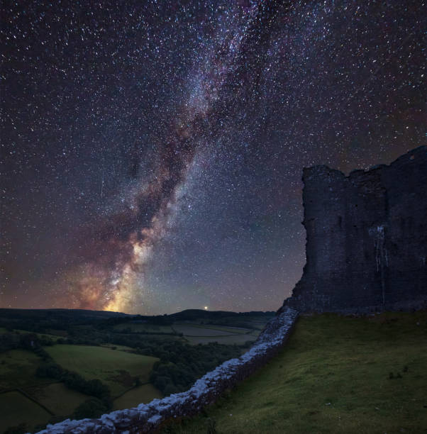 Vibrant Milky Way composite image over landscape of medieval castle ruins Stunning vibrant Milky Way composite image over landscape of medieval castle ruins brecon beacons stock pictures, royalty-free photos & images