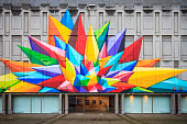 Liege, Belgium - December 12, 2014: Colorful mural on the former museum of arts in Liege, Belgium, on December 12, 2014