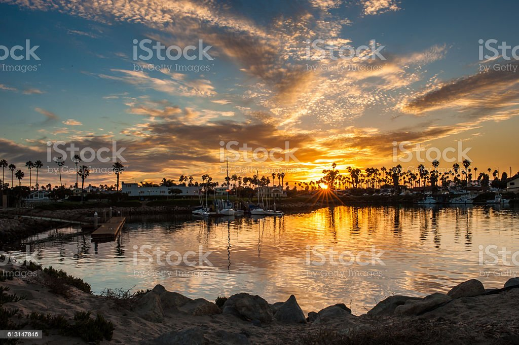 Vibrant morning over harbor cove stock photo