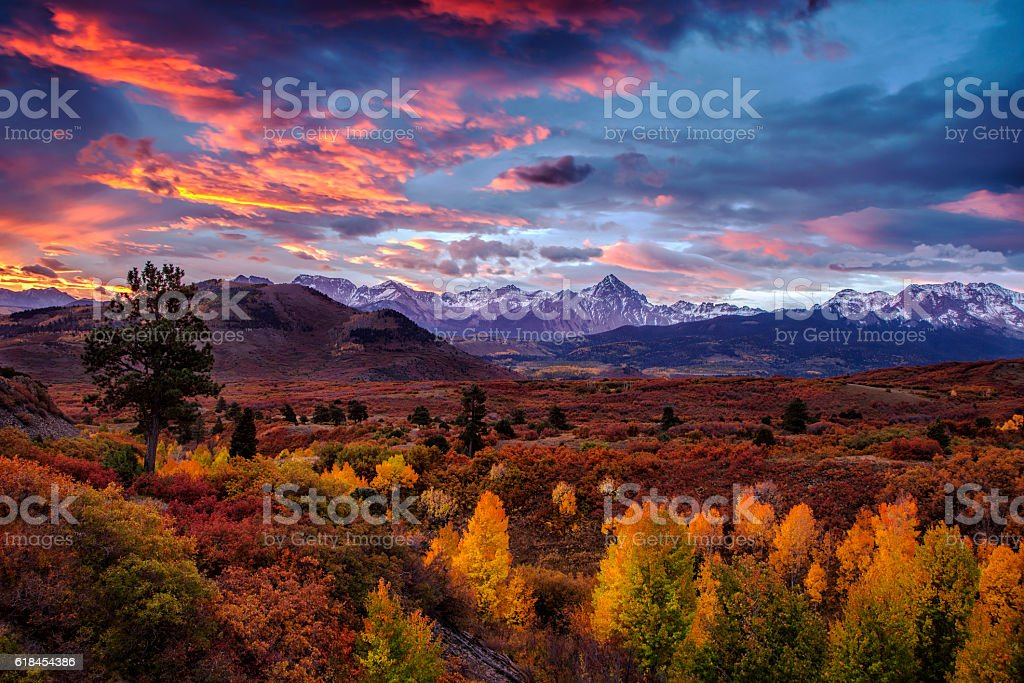 Vibrant Mountain Sunrise stock photo