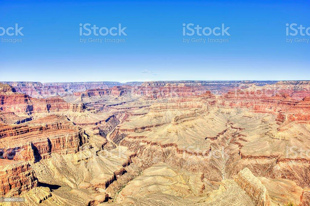 Vibrant multicolored Grand Canyon scene in South Rim, Arizona stock photo