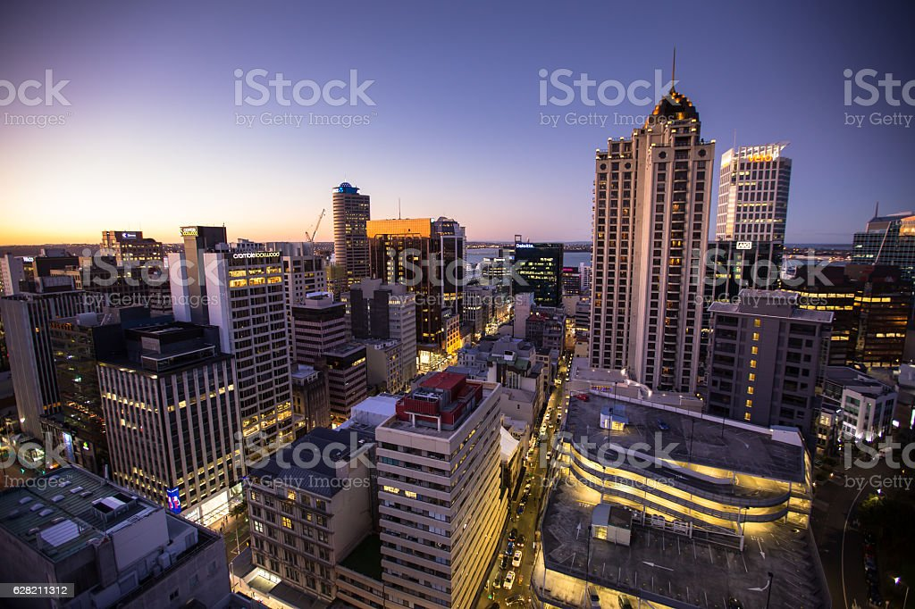 Vibrant New Zealand City Lights stock photo