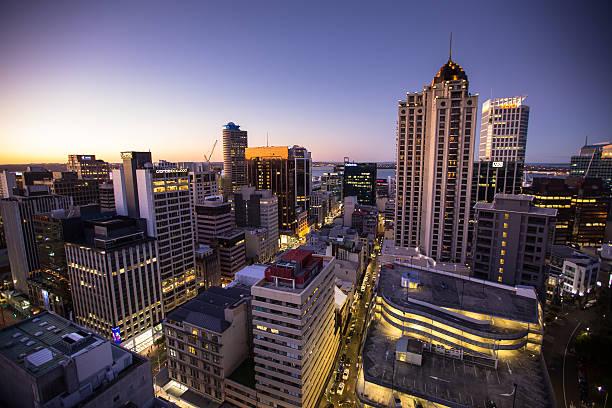 Vibrant New Zealand City Lights stock photo
