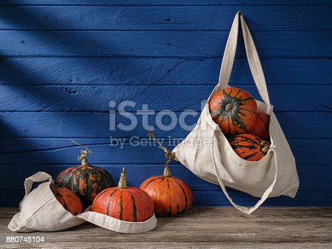 istock Vibrant orange and green patterned Japanese Pumpkin or Kabocha Squash (Lakota) hanging in a reusable cotton bag from a nail on an old blue wood board wall background, while other pumpkins are in a reusable cotton bag on an old weathered wood table below. 880745104