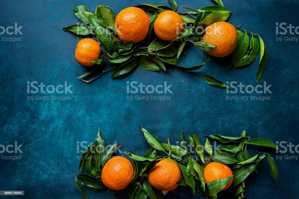 Vibrant Orange Tangerines on Branches Green Leaves Arranged in Composition Border Frame on Dark Blue Background. Christmas New Year Greeting Card Poster Banner Template. Copy Space for Text stock photo