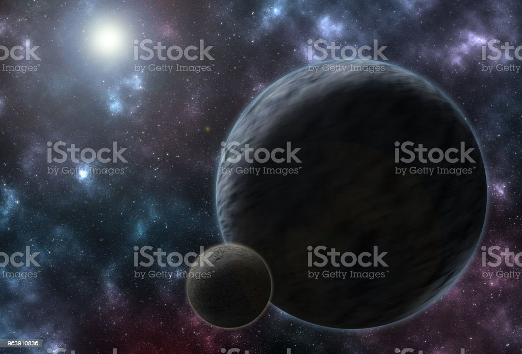 Vibrant outer space with stars, nebula and planets. - Royalty-free Abstract Stock Photo