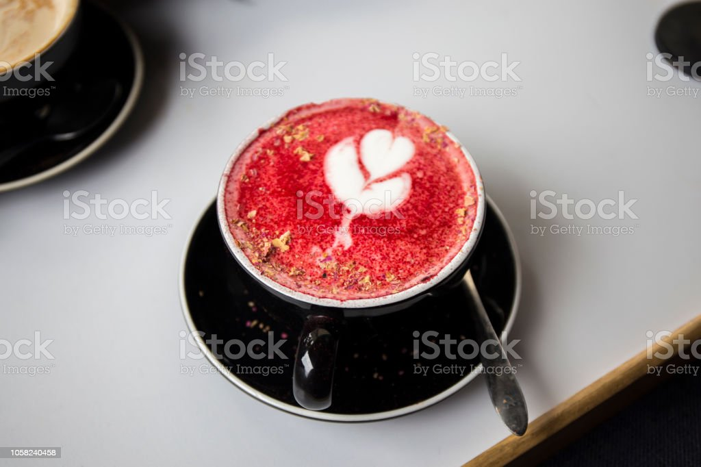 vibrant pink latte stock photo
