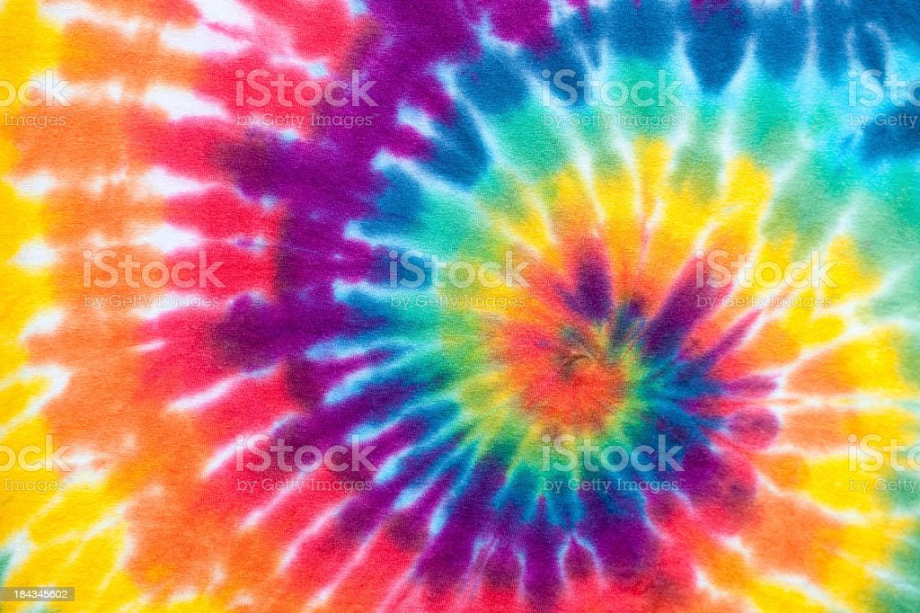 Vibrant rainbow tie die swirl pattern stock photo